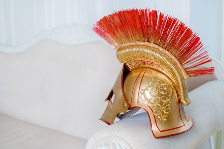 insides: helmet of a gladiator, part of the stage costume