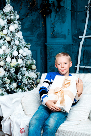 insides: happy boy  at home with a Christmas tree