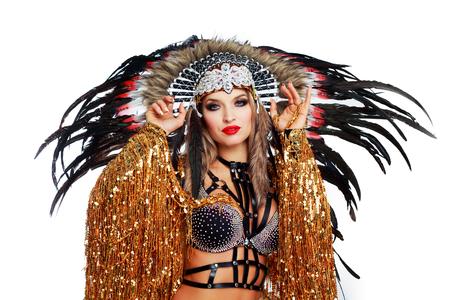 beautiful woman striptease dancer wearing a Native American costume