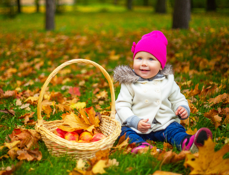 happy baby girl  with a basket with apples outdoor in the autumn park