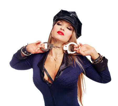 beautiful  striptease dancer, dressed as a police officer isolated against white background Zdjęcie Seryjne - 108312280