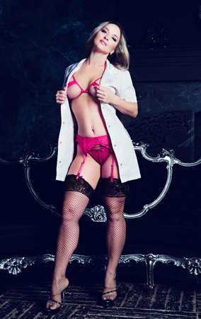 model dressed as a nurse in the interior
