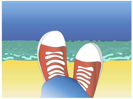 red shoes: red shoes and sea.