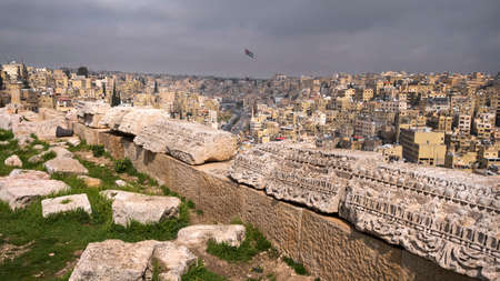 The ruins of the citadel over the city of Amman in jordan in sunny day