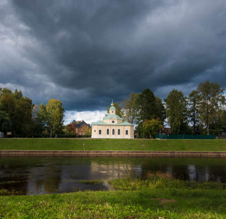 Regimental Church of All Saints in the city of Tikhvin on the river bank