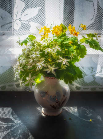 White flowers Poultry and yellow St. John's wort in a vase with fancy curtain shadow o in a village in summer