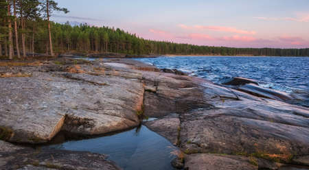 Cape Besov nose in Lake Onega in Karelia in northern Russia at summer
