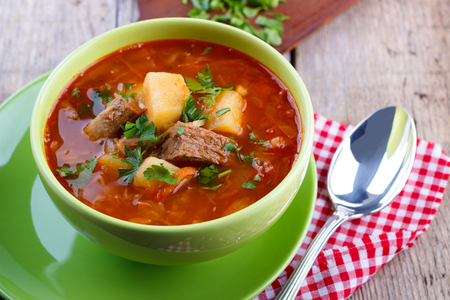 vegetable soup: Traditional ukrainian cabbage soup called borsch . Stock Photo