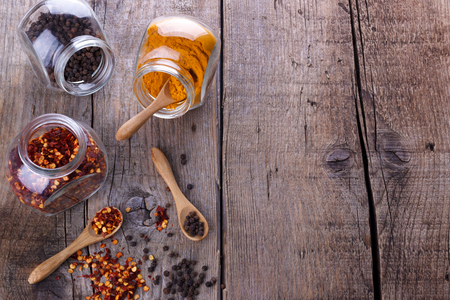 pepper flakes: Chili flakes,black pepper and turmeric Stock Photo