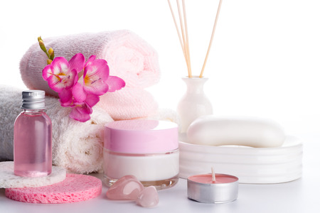 body lotion: Spa setting and health care items, body lotion,soap,aroma sticks,oil, sponges and towels.