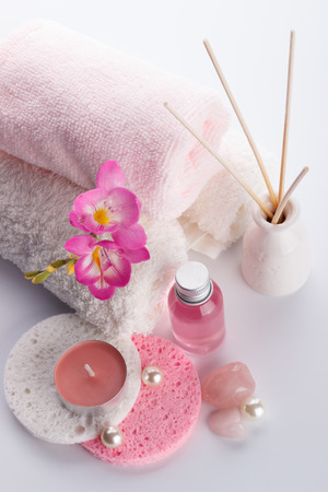 body lotion: Spa setting and health care items, body lotion,soap,aroma sticks Stock Photo