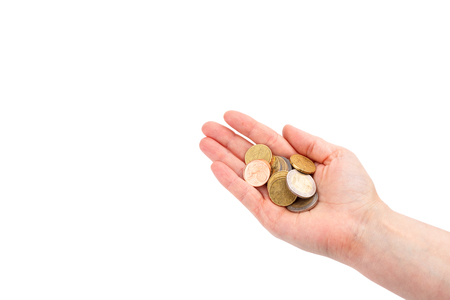 thrifty: euro coins in womans hand Stock Photo