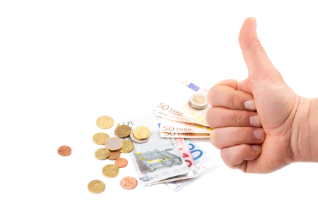 Mans hand with thumb up and money isolaten on white
