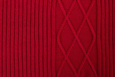 tejido de lana: La textura de la tela de lana tejidos de punto rojo para fondo de pantalla y un resumen de antecedentes