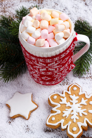 comfort food: hot chocolate with melted marshmallows in red mug and ginger bread cookies on snow. Stock Photo