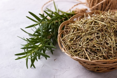Rosemary, fresh and dried on white background
