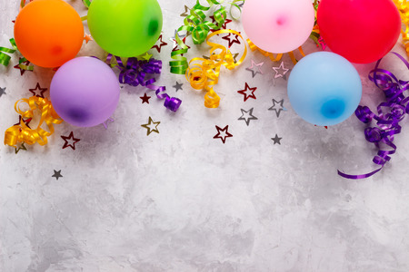 Birthday party background border with baloons and confetti Stock Photo