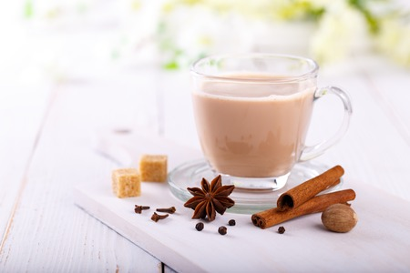masala chai tea, traditional indian tea with milk and spices Stock Photo