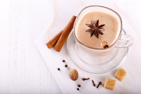 masala chai tea, traditional indian tea with milk and spices Фото со стока