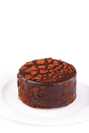 Chocolate layered sponge mousse round cake with cocoa powder