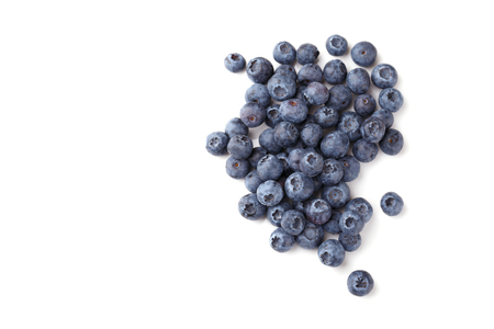 Hip of ripe blueberries isolated over white top view