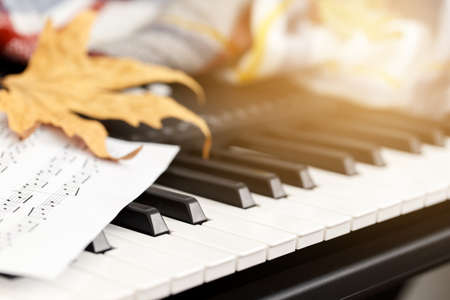 Close up of the electronic piano and music sheets, autumn concept with yellow leaves and blanket 版權商用圖片