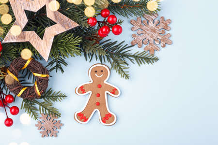 Christmas or New Year homemade gingerbread cookies and fir tree branch on a light blue background, festive greetings card