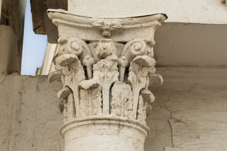 stucco: Ancient column with white stucco Stock Photo