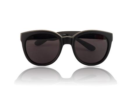 wayfarer: Big sunglasses with dark glasses on white background Stock Photo