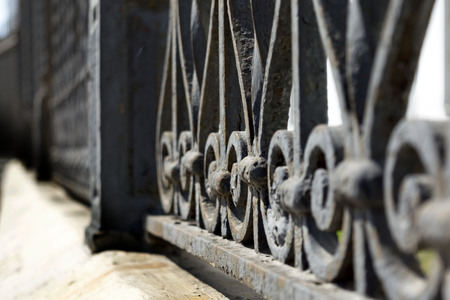 elective: European wrought iron gate, in Sweden Stockholm, selective focus Stock Photo