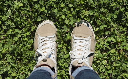 uniform green shoe: Feet in sneakers on green grass. Stock Photo