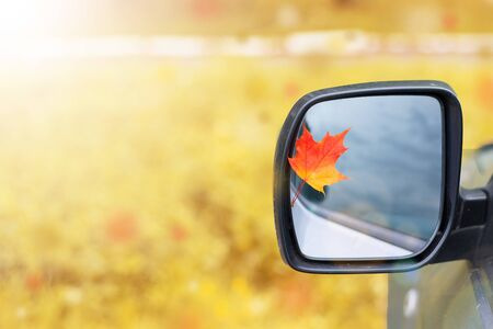 Yellow maple leaf on a car mirror autumn, sunlight,
