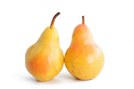 Group of ripe pears on a white background, close-up, isolated background.