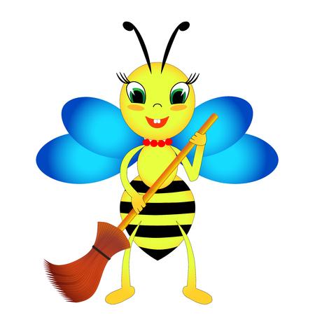 Una abeja con una escoba Foto de archivo - 76373264