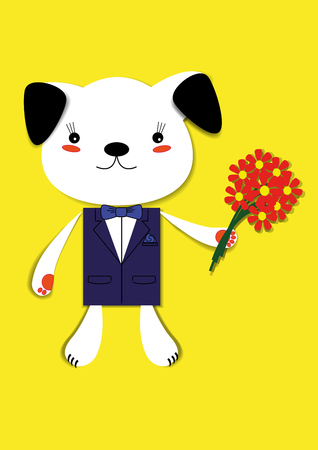 dog with flowers Illustration