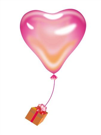 female pink: heart ballon