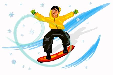 snowboarder: Happy boy on the snowboard