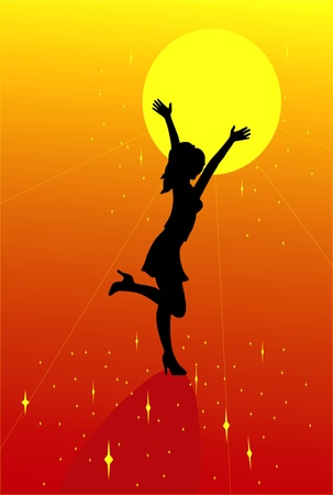 girl silhouette with the sun Vector