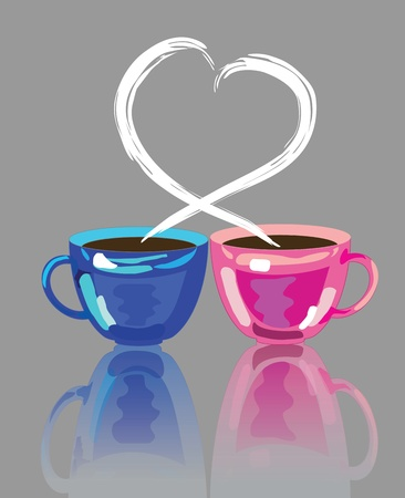 Two cups of coffee with lover smoke Vector