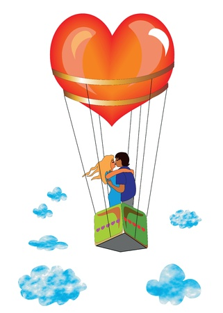 flying woman: Lovers on the beautiful balloon in the sky