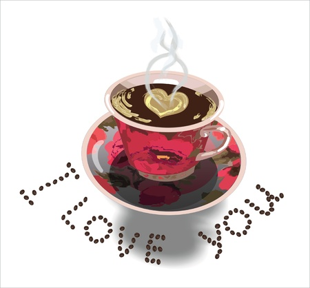 Beautiful cup of coffee with declaration of love Vector