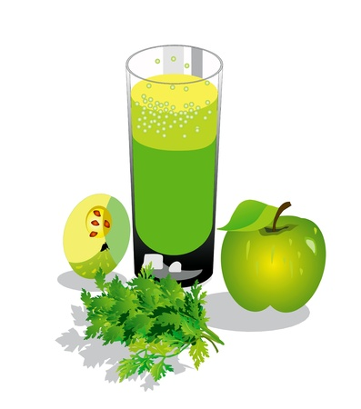 refreshments: Fruit juice, green apples, parsley Illustration