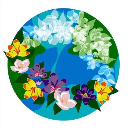 magnolia flower: logo spring Illustration