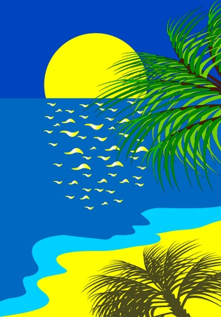 azure sea beach Vector