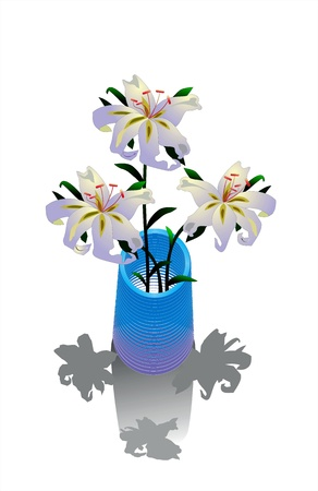 Beautiful lilies in a blue vase