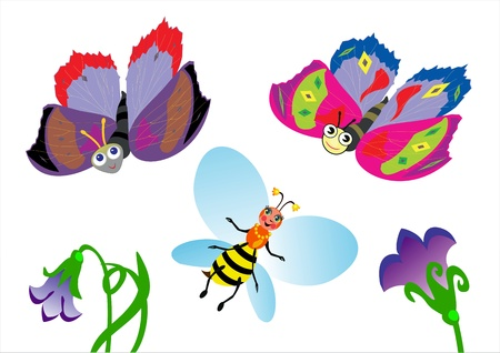 Butterfly and Bee Stock Vector - 13176933