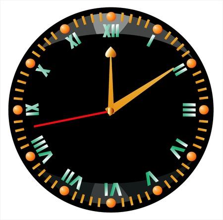 12 o'clock: black clock