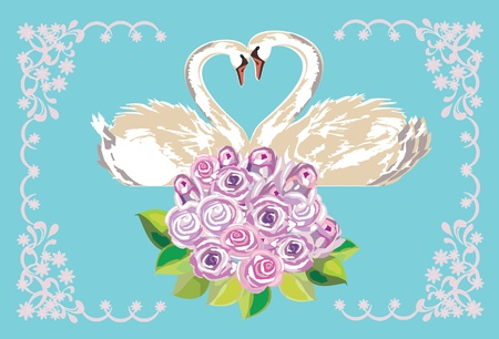 Wedding card with swans Vector