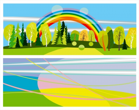 horizontal summer banners abstract and landscape Stock Vector - 13658845