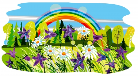 beautiful summer landscape and background Illustration